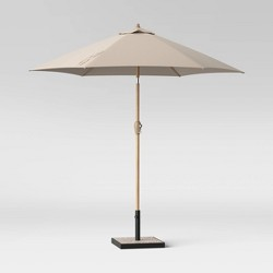 9' Round Patio Umbrella Light Wood Pole - Threshold™