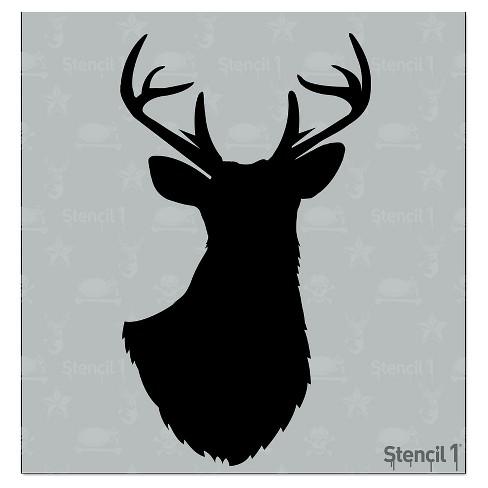 "Stencil1 Antlered Deer Silhouette - Stencil 5.75"" x 6"" - image 1 of 3"