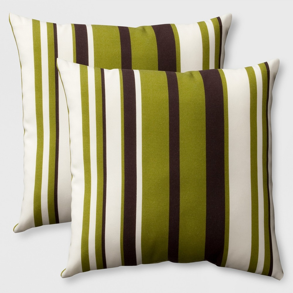 Image of Belmont 2pk Outdoor Accent Pillows Green/Brown - Grand Basket
