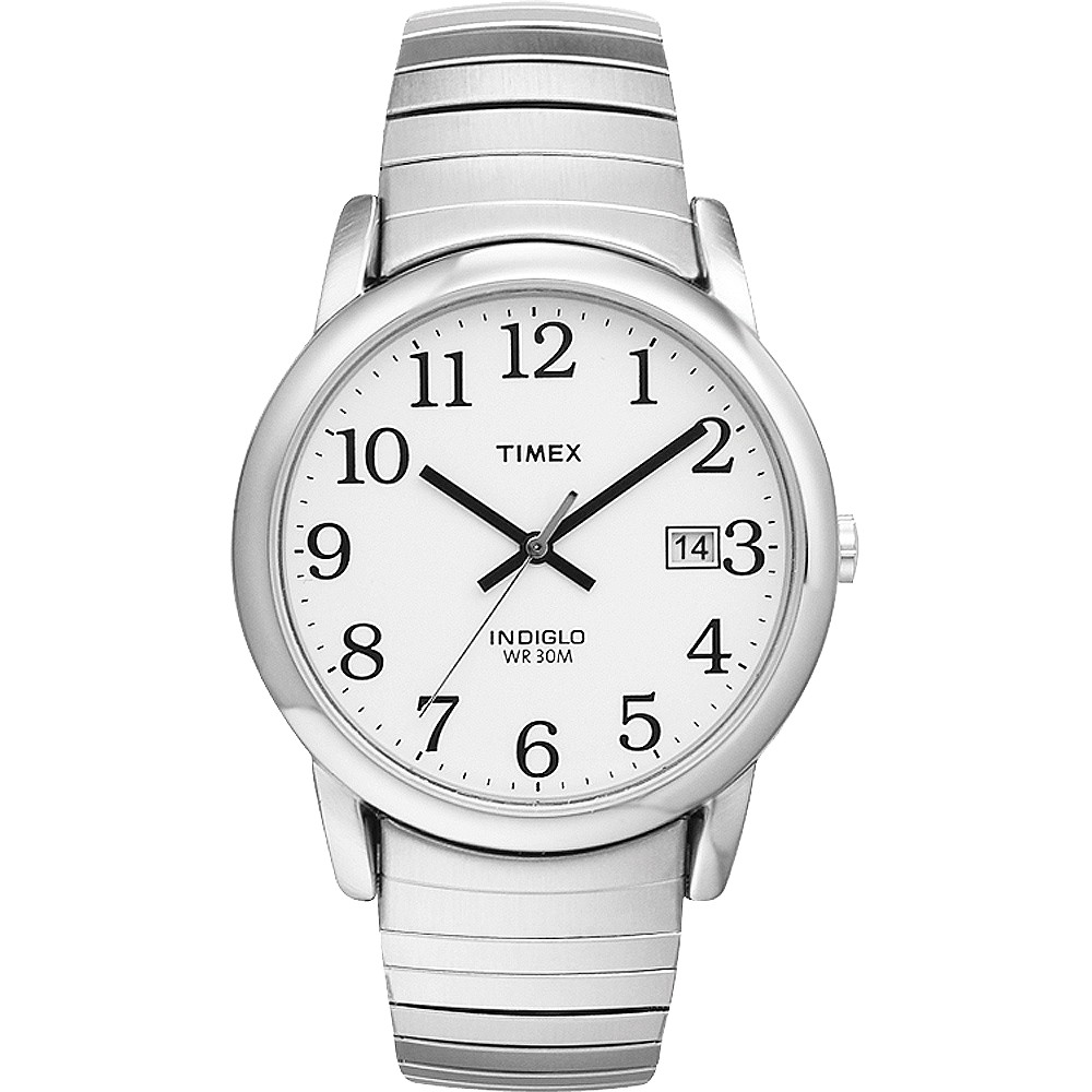 Men 39 S Timex Easy Reader Expansion Band Watch Silver T2h451jt