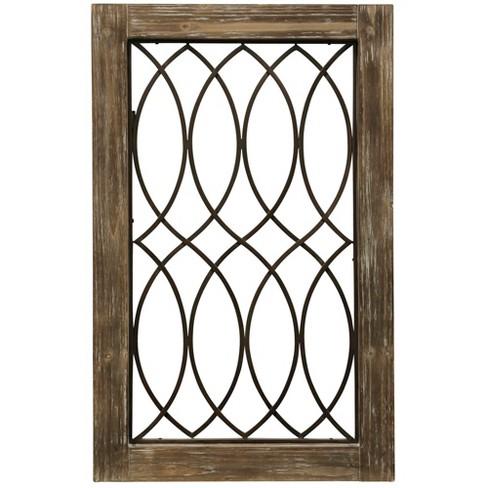 37 5 Wood Framed Metal Grate 2 Decorative Wall Art Buff Beige