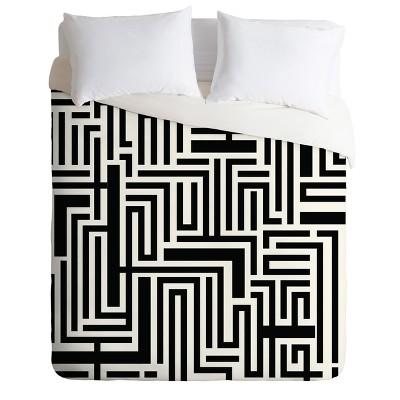 Black & White Khristian A Howell Meander Duvet Cover (Queen)- Deny Designs