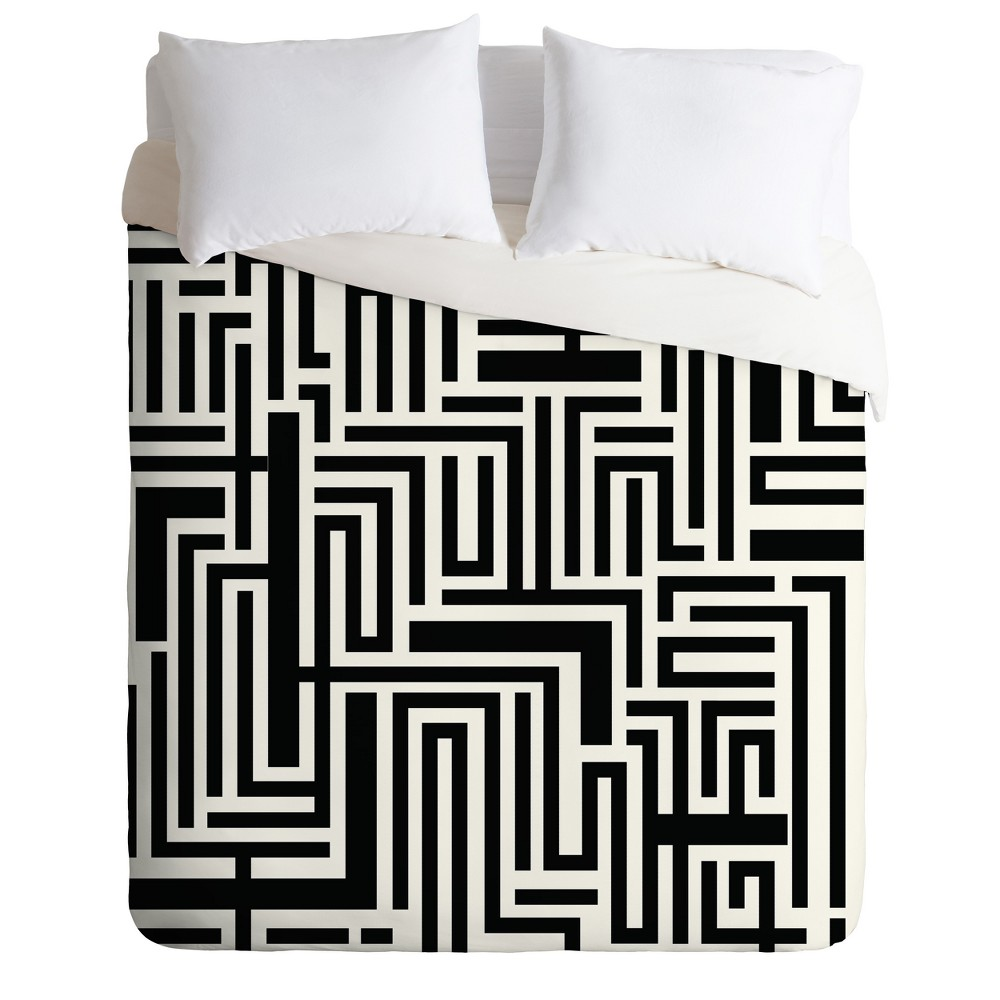 Black & White Khristian A Howell Meander Duvet Cover (King) - Deny Designs