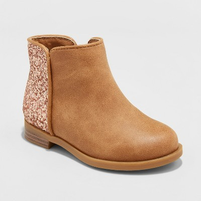 Toddler Girls' Etoile Ankle Fashion Boots with Glitter - Cat & Jack™ Cognac 5