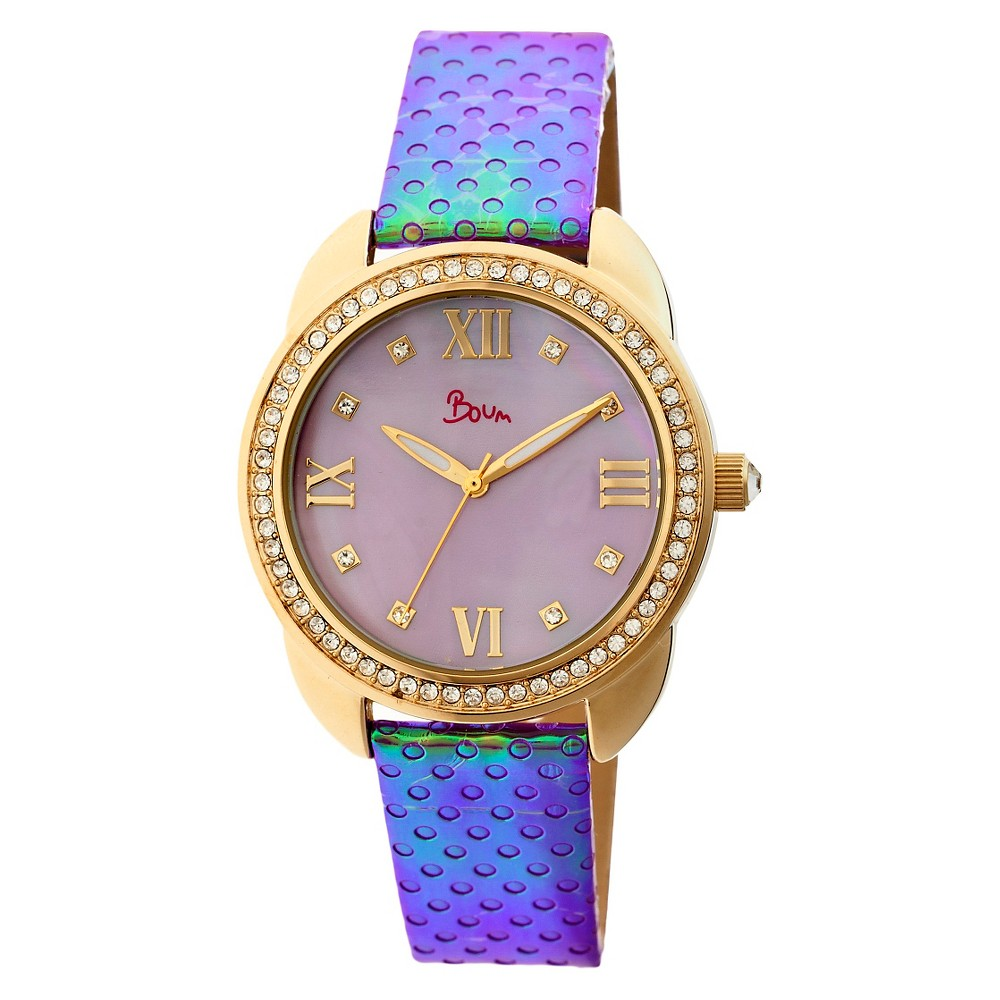 Women's Boum Forte Watch With Mother-of-Pearl Dial and Chameleon Color Changing Genuine Leather Strap-Gold/Purple