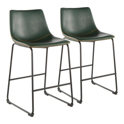 """Set of 2 Duke 26"""" Industrial Counter Stool Black/Green - LumiSource - image 1 of 4"""