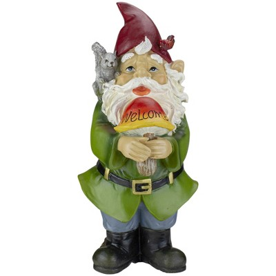 "Roman 12.5"" Welcome Gnome with Squirrel and Cardinal Outdoor Garden Statue"