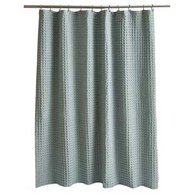 Wide Waffle Shower Curtain Aqua - Fieldcrest®