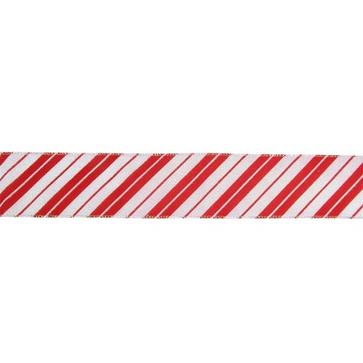 """Northlight Red and White Striped Christmas Wired Craft Ribbon 2.5"""" x 16 Yards"""