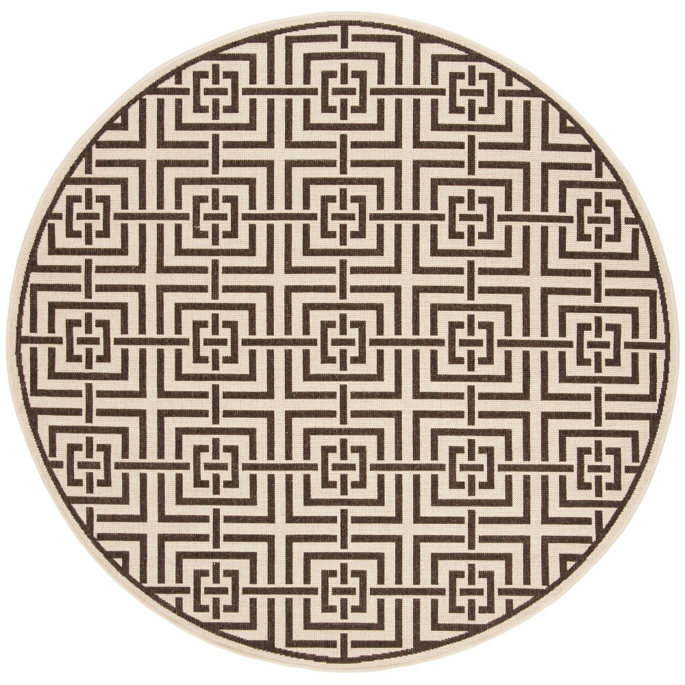 67 Round Geometric Loomed Area Rug Natural/Brown - Safavieh Coupons