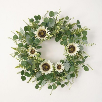 Sullivans Artificial Sunflower, Eucalyptus and Berry Wreath