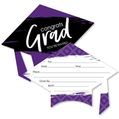 Big Dot of Happiness Purple Grad - Best is Yet to Come - Shaped Fill-in Invitations - Purple Grad Party Invitation Cards with Envelopes - Set of 12