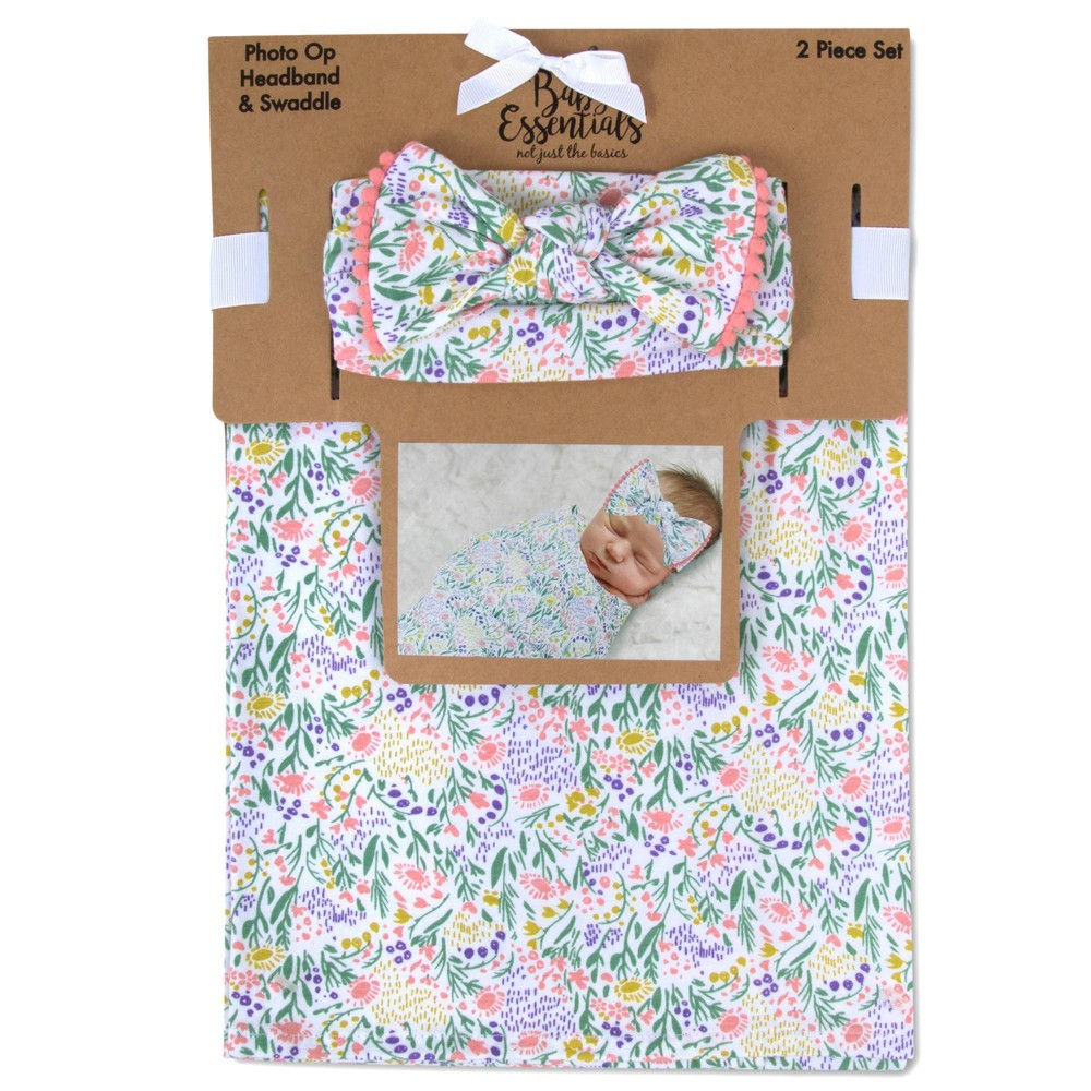 Image of Baby Essentials Wild Floral Swaddle Blanket and Headband