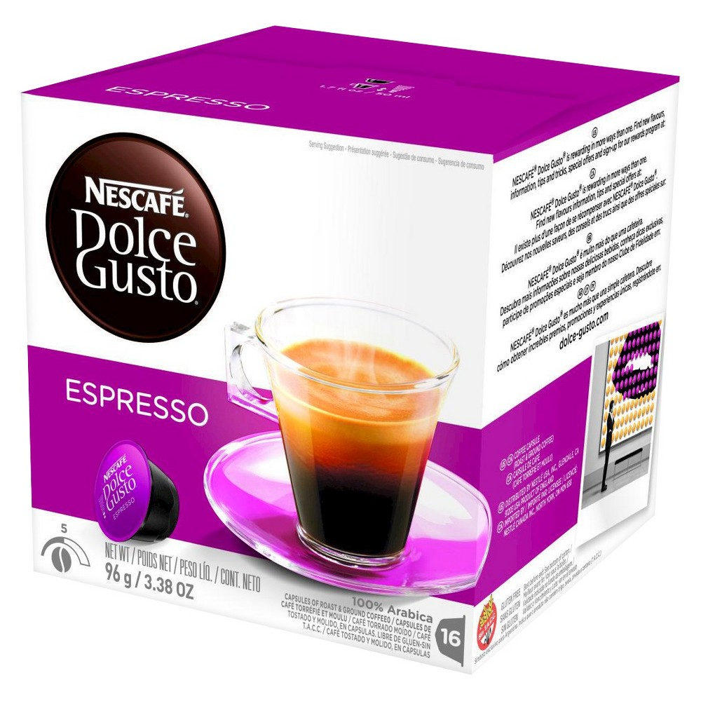 Nescafe Dolce Gusto Espresso Dark Roast - Coffee Capsules - 16ct, Burgandy/White