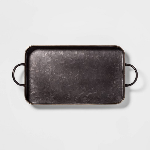Metal Rectangle Serving Tray Black - Threshold™ - image 1 of 2