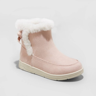 Toddler Girls' Omie Zipper Slip-On Shearling Style Winter Boots - Cat & Jack™