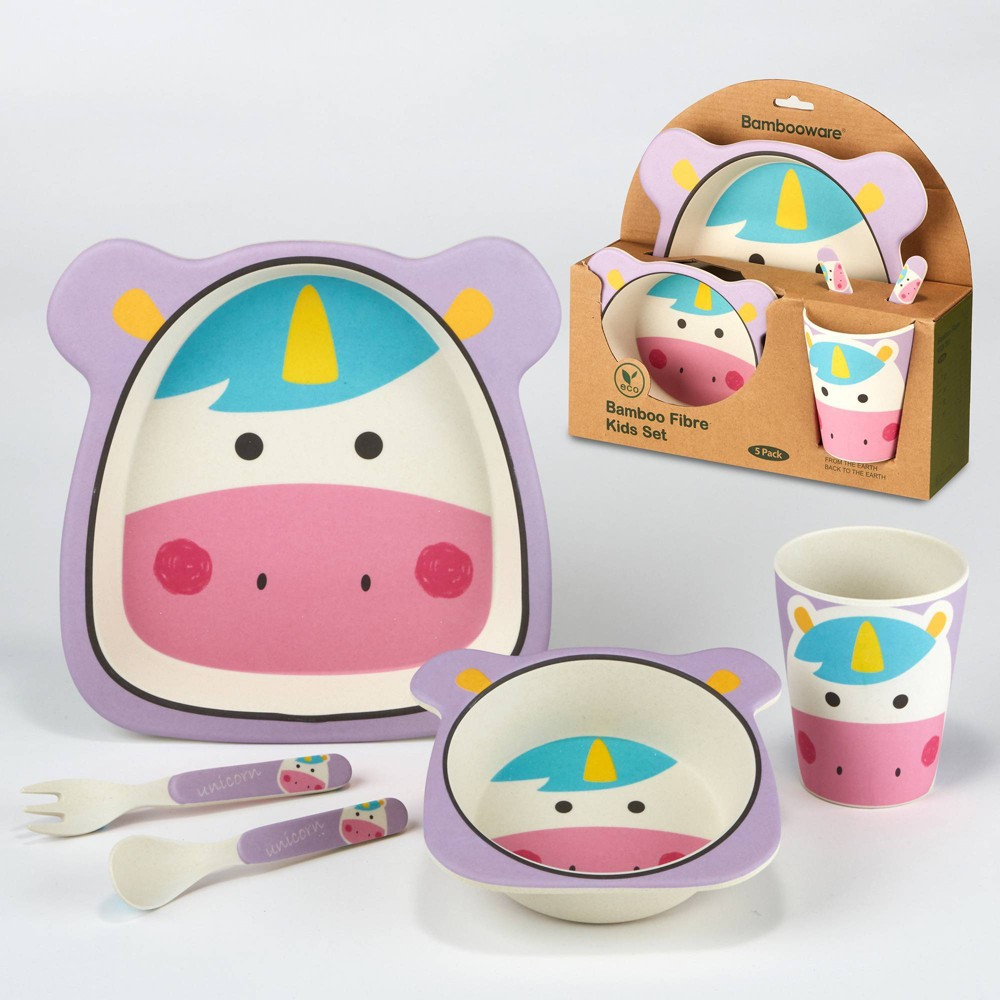 5pc Bamboo Kids Unicorn Dinnerware Set Pink Certified International