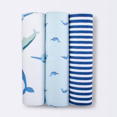 Muslin Swaddle Blankets Whale 3pk - Cloud Island™