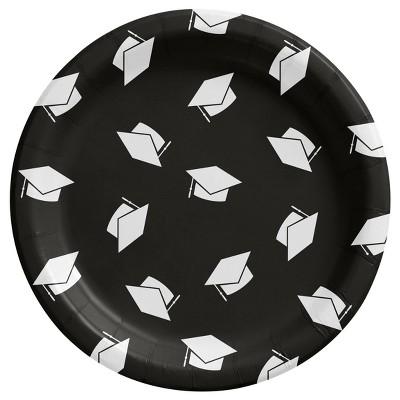 20ct Graduation 'Class of 2021' Disposable Snack Plates Black - Spritz™