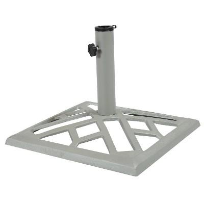 "Geometric Rectangles Cast Iron Outdoor Umbrella Base 16"" Square - Sunnydaze Decor"