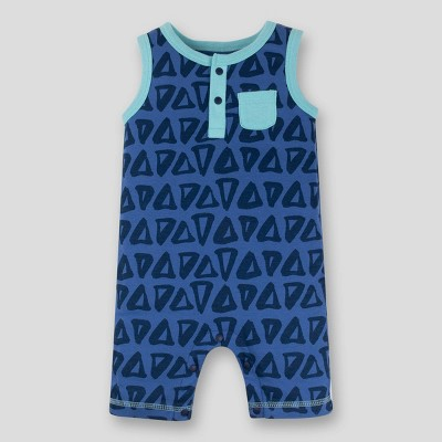 Lamaze Baby Boys' Triangles Sleeveless Organic Cotton Romper - Blue 6M
