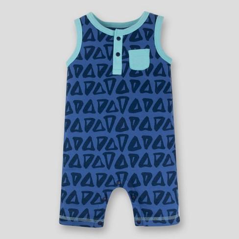 Lamaze Baby Boys' Triangles Sleeveless Organic Cotton Romper - Blue - image 1 of 3