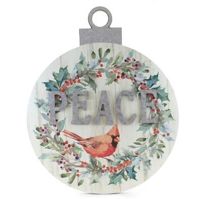 "Christmas 18.5"" Cardinal Ornament Wall Decor Metal Accent  -  Wall Sign Panels"