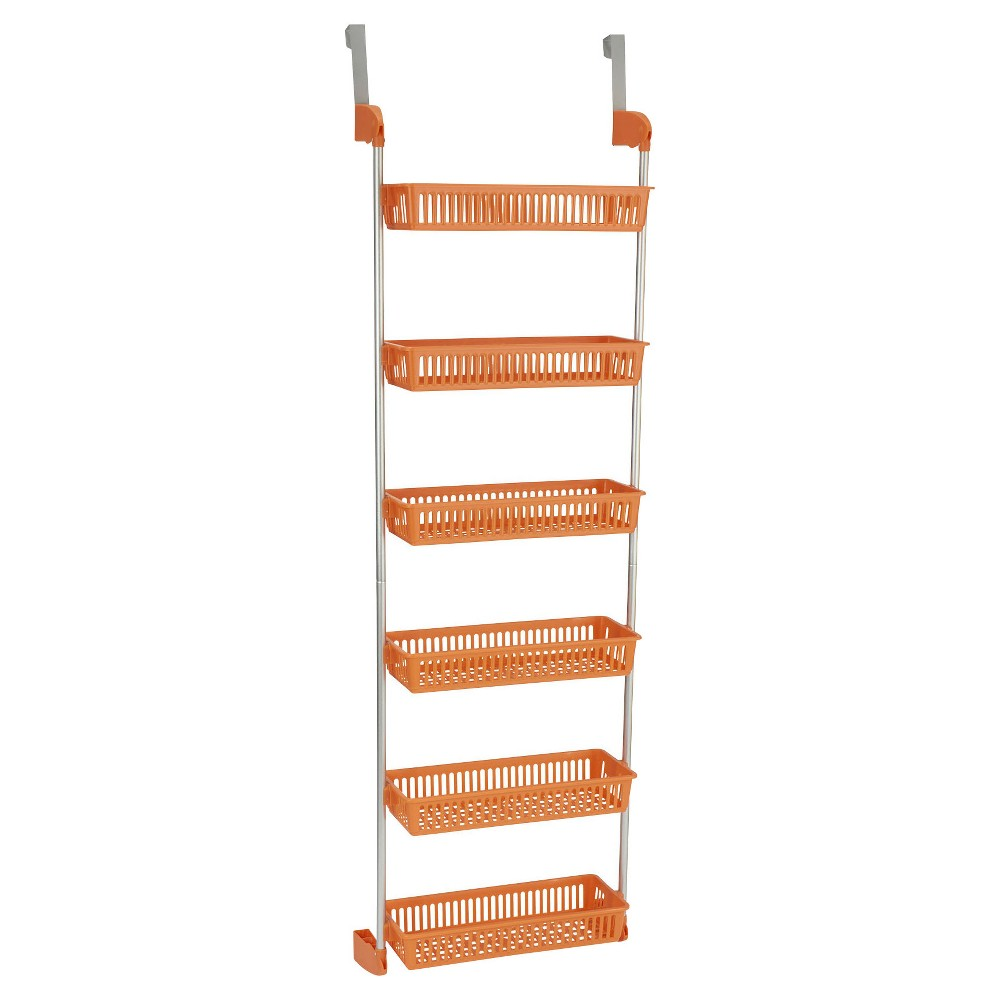 Household Essentials - 6-Basket Over-the-Door Organizer - Orange 6-Basket Over-the-Door Organizer from Household Essentials is an intelligent way to stay organized. The rack has 6 sturdy, plastic baskets to hold everything: towels, soaps, hair brushes, flat irons, craft supplies, tin foil, plastic wrap, pasta boxes, pet leashes and more. This is the perfect organizer for kitchens, bathrooms and dorms. Color: Orange