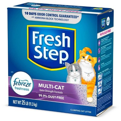 Fresh Step Multi-Cat Scented Litter with the Power of Febreze Clumping Cat Litter