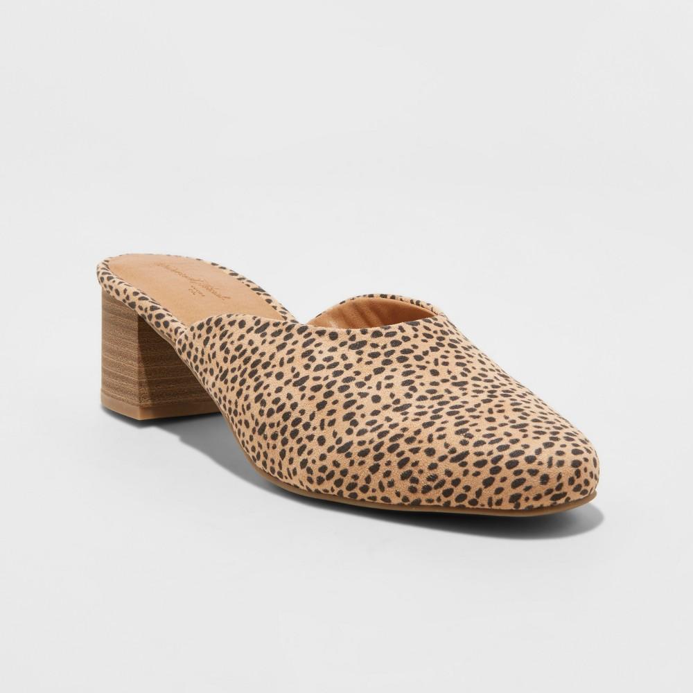 Women's Aviana Microsuede Wide Width Block Heeled Mules - Universal Thread Brown 11W, Size: 11 Wide