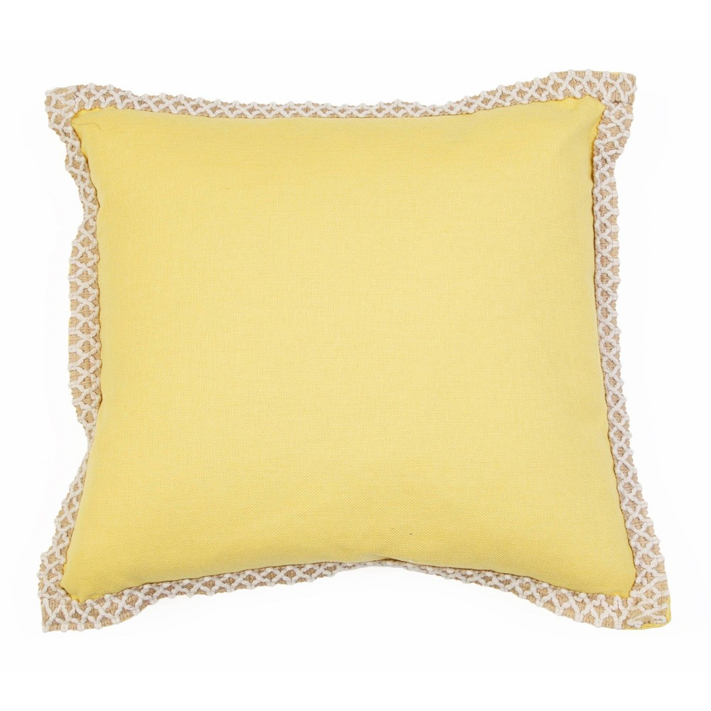 """Image of """"19""""""""x19"""""""" Andrea Embroidered Flange Pillow Yellow - Décor Therapy"""""""