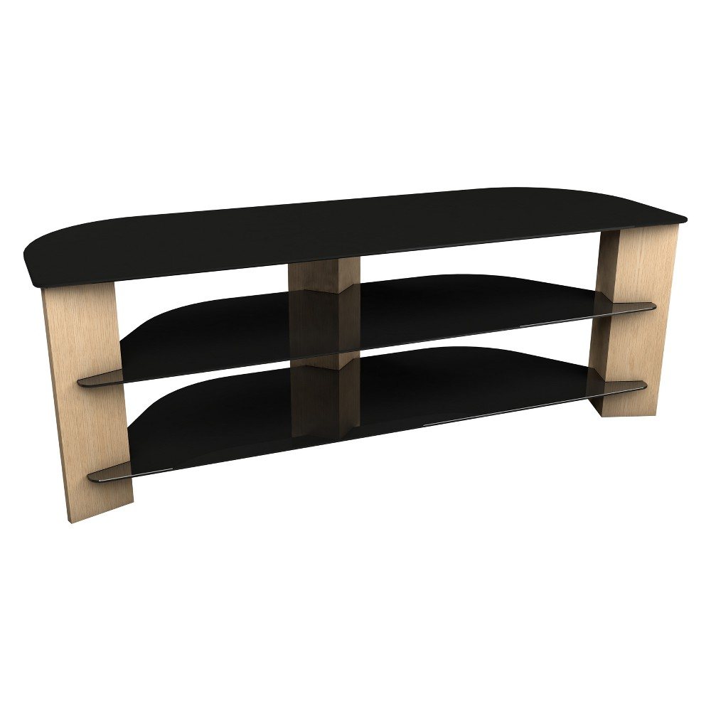 "Image of ""65"""" TV Stand with Glass Shelves - Oak/Black, Brown"""