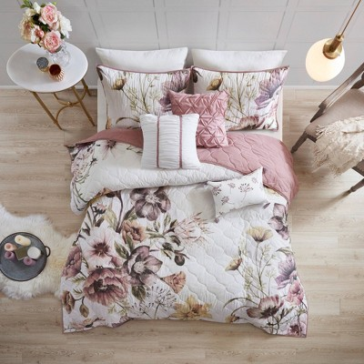 Maddy Full/Queen 6pc Cotton Printed Quilted Coverlet Set Blush