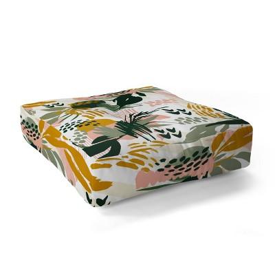 Marta Barragan Camarasa Art Nature Brushstrokes Square Floor Pillow Green - Deny Designs
