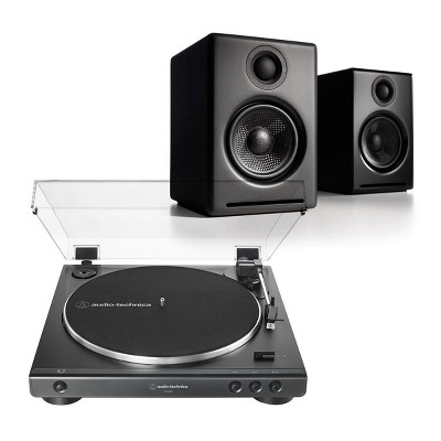 AudioTechnica ATLP60XBK Stereo Turntable with Audioengine A2+ Wireless Speakers