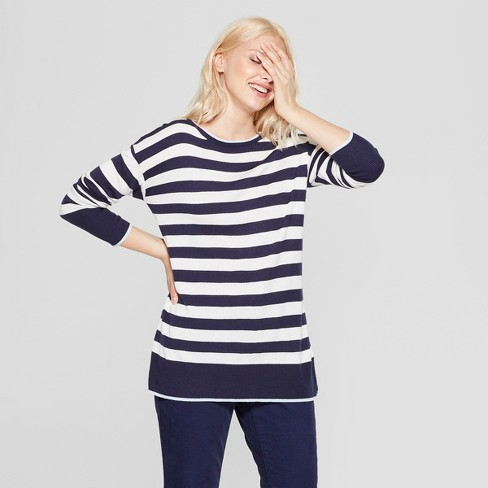 Women's Striped Long Sleeve Crewneck Pullover Sweater - A New Day™ Navy/Cream S - image 1 of 3