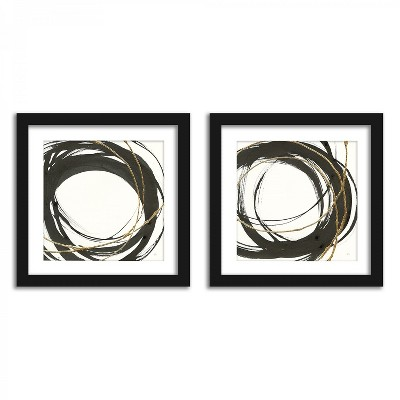 Americanflat Black And Gold Circles - Set of 2 Framed Prints by PI Creative