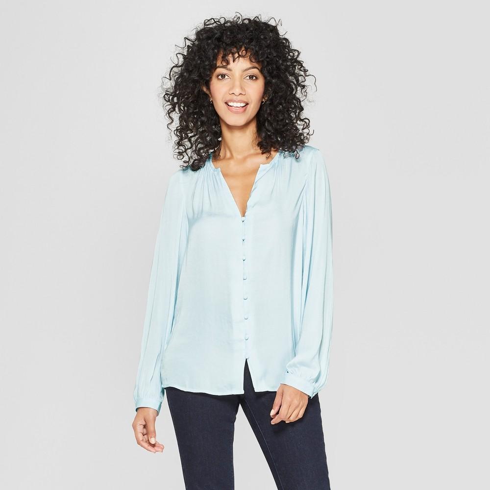 Women's Long Sleeve Satin Blouse - A New Day Light Blue Xxl