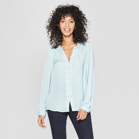 Women's Long Sleeve Satin Blouse - A New Day™ - image 1 of 3