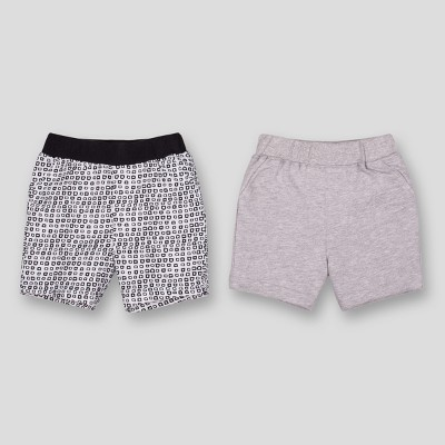 Lamaze Baby Boys' Organic Cotton 2pk Printed Shorts - Grey Newborn