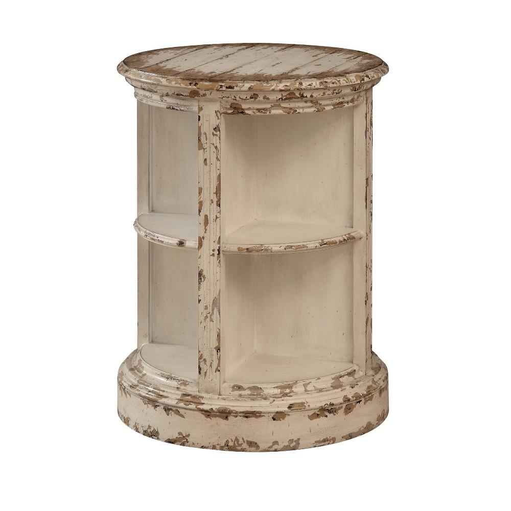 Vintage Barrel Shaped Accent Table Cream (Ivory) - Treasure Trove