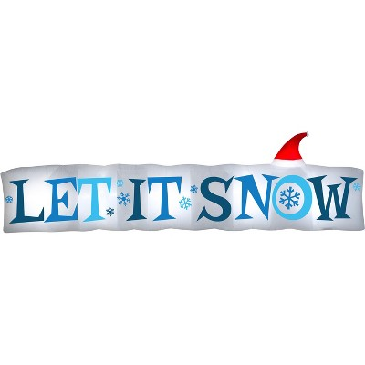 Gemmy Christmas Airblown Inflatable Let It Snow Sign, 4 ft Tall, white