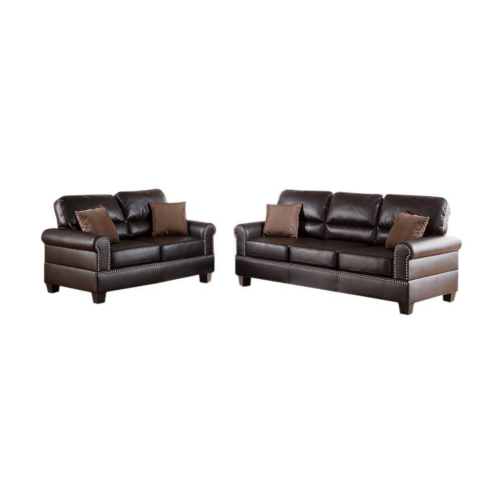 Image of 2pc Bonded Leather Sofa Set With Pillows Brown - Benzara