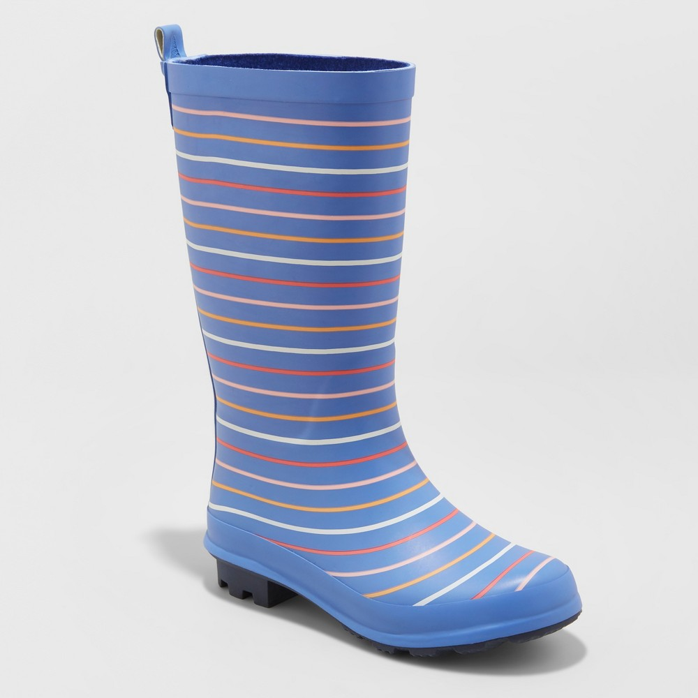 Girls' Audria Printed Rain Boots - Cat & Jack Blue 1