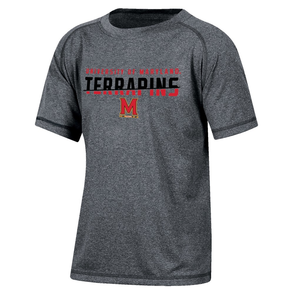 Maryland Terrapins Boys' Short Sleeve Crew Neck Raglan Performance T-Shirt - Gray Heather XL, Multicolored