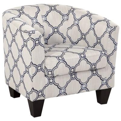 Incroyable Zoey Tub Chair In Blue Quatrefoil   Saffron