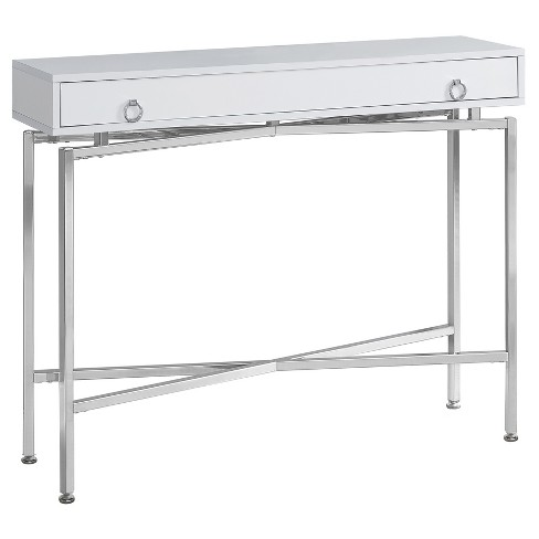 Accent Table - Glossy White, Chrome - EveryRoom - image 1 of 2