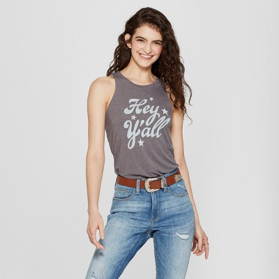 Women's Hey Ya'll Graphic Tank Top   Awake Charcoal by Awake