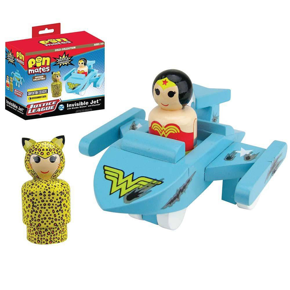 Image of Bif Bang Pow! DC Comics Wonder Woman Invisible Jet with Wonder Woman & Cheetah Pin Mates Set (NYCC Debut)