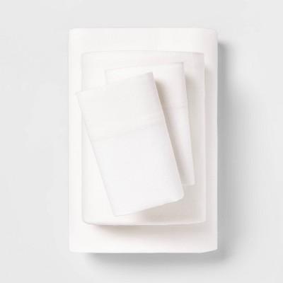 King Solid Flannel Sheet Set Ivory - Wondershop™